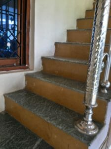 Washing or cleaning terrace and stairs